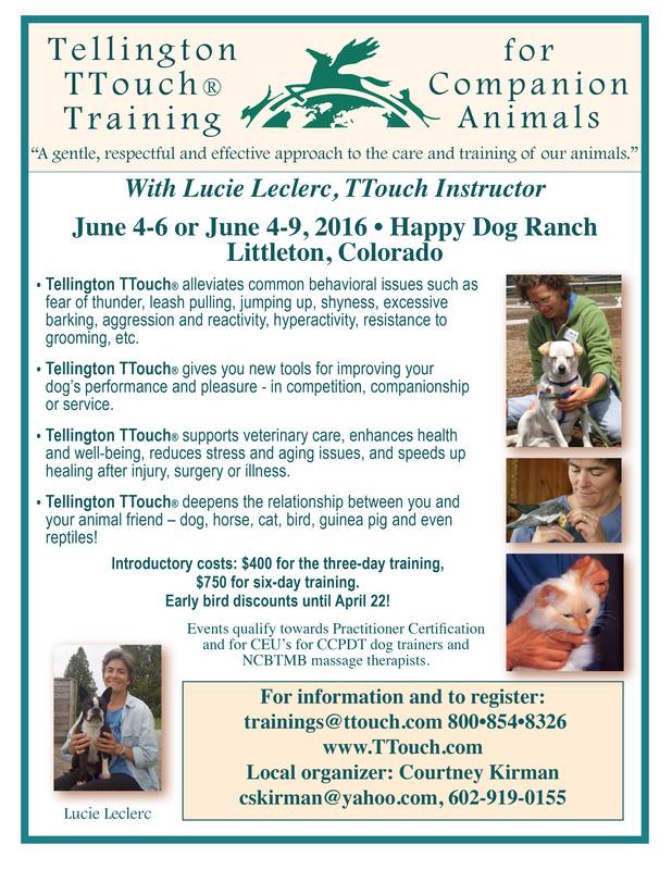 June 4 9 Ttouch Training For Companion Animals